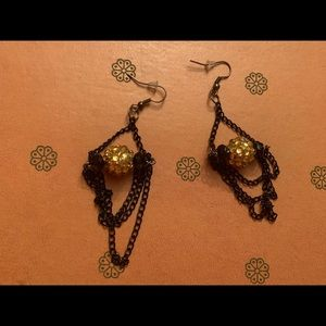 Jewelry - Black and Gold Statement Earrings